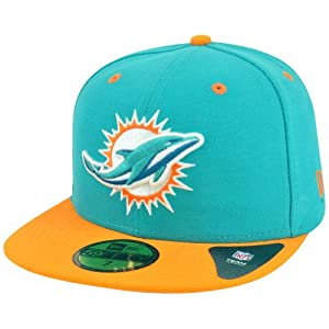 NFL New Era Miami Dolphins 59Fifty 5950 2013 Two Tone Fitted Hat Cap Aqua by New Era