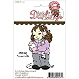 Little Darlings Unmounted Rubber Stamp-Making Snowballs