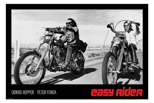 (24x36) Easy Rider Movie (Dennis Hopper & Peter Fonda on Motorcycles, Black) Poster Print (Motor Poster compare prices)