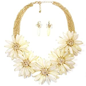 Hugssy Multi Strands Pendant Flowers Statement Necklace Earrings Set, White (IV)