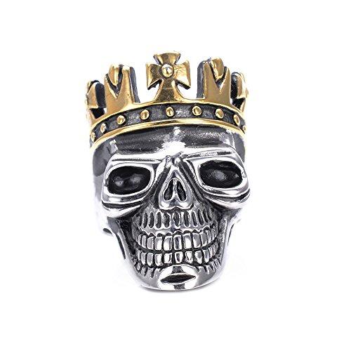 lopez-kent-bijoux-gold-crown-skull-en-acier-inoxydable-mens-ring-taille-60