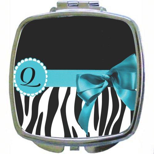 "Rikki Knighttm Letter "" Q "" Sky Blue Zebra Bow Monogram Design Design Compact Mirror front-1007300"