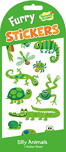 Peaceable Kingdom Furry Green Animals Sticker Pack