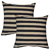 Home Kouture Polyester Set Of 2 Stripetease Cushion Cover; Gold And Black, 40.64 X 40.64 CM