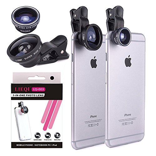 YOPO iPhone Lens for 6/6s/6 plus/6s plus/7, Fish Eye + Macro + Wide Angle 3 in 1 Clip-on Camera Lens Kit for Most Smartphones(Black) (Fisheye Lens Clip On Iphone 6 compare prices)
