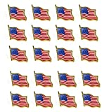 Bassion 20 PCS American Flag Lapel Pin United States USA Waving Flag Pins