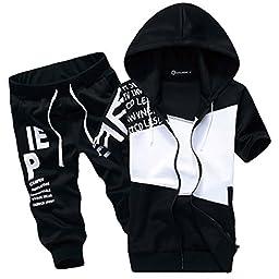 L\'asher Men\'s Jogger Harem Capri Cropped Pants Short Sleeve Hoodie Tracksuit (US M/Tag XXL, Black)