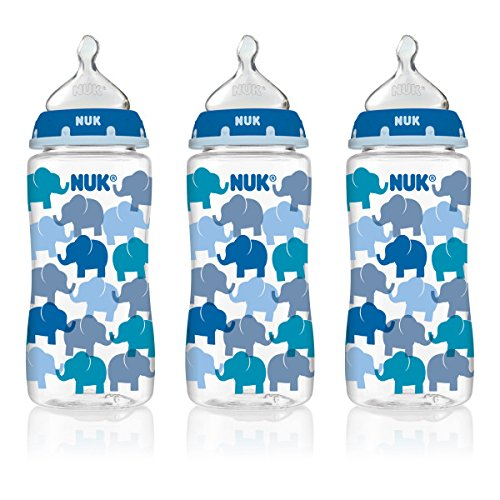 NUK 62736 Hearts and Elephants Baby Bottle with Perfect Fit Nipple, 10 Ounces, 3 Pack, Assorted Colors - 1