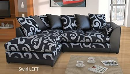 New Dylan Zina Black Swirl Fabric Corner Sofa, Left and Right (Swirl LEFT)