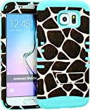 Wireless Fones TM Samsung Galaxy S6 Dual Layer Hybrid Impact Resistant Protective Kickstand Cover Case Giraffe Animal Print Snap On Over Baby Teal Skin