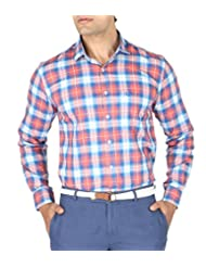 VETTORIO FRATINI By Shoppers Stop - Yarndyed Checks Shirt With Contrast Collar Band ,Sleeve Cuff And Inner Placket... - B00VV6K95I