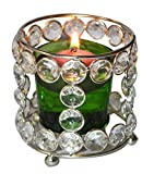 Real Expo Real Crystal Bead Votive Candle Holder Glass With Green Tea Light
