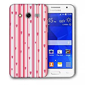 Snoogg Small Hearts Strips Pattern Printed Protective Phone Back Case Cover For Samsung Galaxy Core 2 / Core II G355H