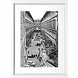Archivio Foto Locchi Florence シャドー ボックス ファインアートプリント ハンドメイドのホワイトフレーム付き 50年代のウフィツィ美術館の画像53 x 73 x 4.5 cm (20.9x28.7x1.8 インチ)