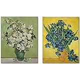 Wieco Art Canvas Prints Irises in a Vase Classic Van Gogh Artwork Modern Canvas Art for Wall Decor
