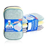 MR. SIGA Dual Action Scrubbing Sponge, Pack of 6, Size:17x10x2.3cm