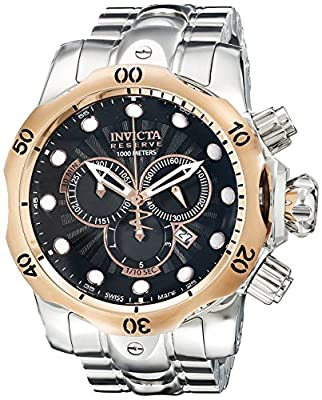 Invicta Men's 10794 Venom Reserve Chronograph Black Textured Dial Stainless Steel Watch