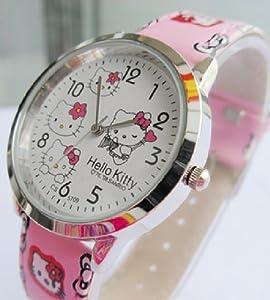 Pink Hello Kitty Girls Ladys Wrist Quartz Watch Faux Leather