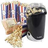 VonShef Fat-Free Hot Air Popcorn Maker / Popcorn Machine with FREE 500g Popcorn Kernels + 4 Popcorn Boxes Included