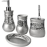 Creative Scents Brushed Nickel Bath Ensemble, 4 Piece Bathroom Accessories Set, Brushed Nickel Collection Bath Set Features Soap Dispenser, Toothbrush Holder, Tumbler, & Soap Dish- Silver Mosaic Glass
