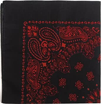 "Bandanas By The Dozen 100% Cotton 12-Pack 22"" x 22"" - Paisley Black & Red"