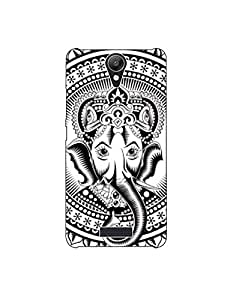 micromax unite 2 nkt-04 (78) Mobile Case by Mott2 - Black and White Beautiful Ganesha
