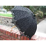 Past Perfect Victorian Lady Lace Parasol in Black