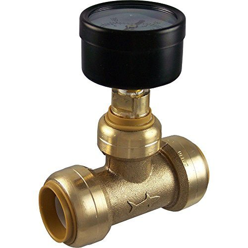 SharkBite 24438 Brass Push-to-Connect Tee with Water Pressure Gauge, 3/4 by Sharkbite (Sharkbite Pressure compare prices)