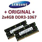 "8GB Dual Channel Kit 2x 4 GB 204 pin DDR3-1067 SO-DIMM (1067Mhz, PC3-8500S, CL7)von ""Samsung"""