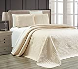 "3-Piece IVORY / ECRU Oversize ""Stella Grande"" Bedspread QUEEN / FULL Embossed Coverlet set 106 by 100-Inch"