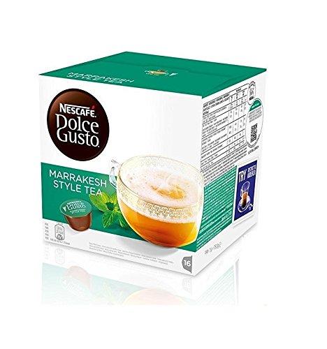 Capsules de Thé Nescafé Dolce Gusto Marrakesh Style Tea, Thé Vert à la Menthe Poivrée, 3 x 16 Capsules