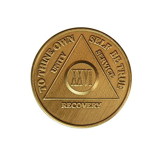 26 Year Bronze AA (Alcoholics Anonymous) - Sober / Sobriety / Birthday / Anniversary / Recovery / Medallion / Coin / Chip by Generic