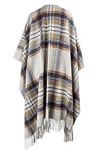 Hogarth Beige Muted Stewart Tartan Cashmere Serape Blanket Wrap