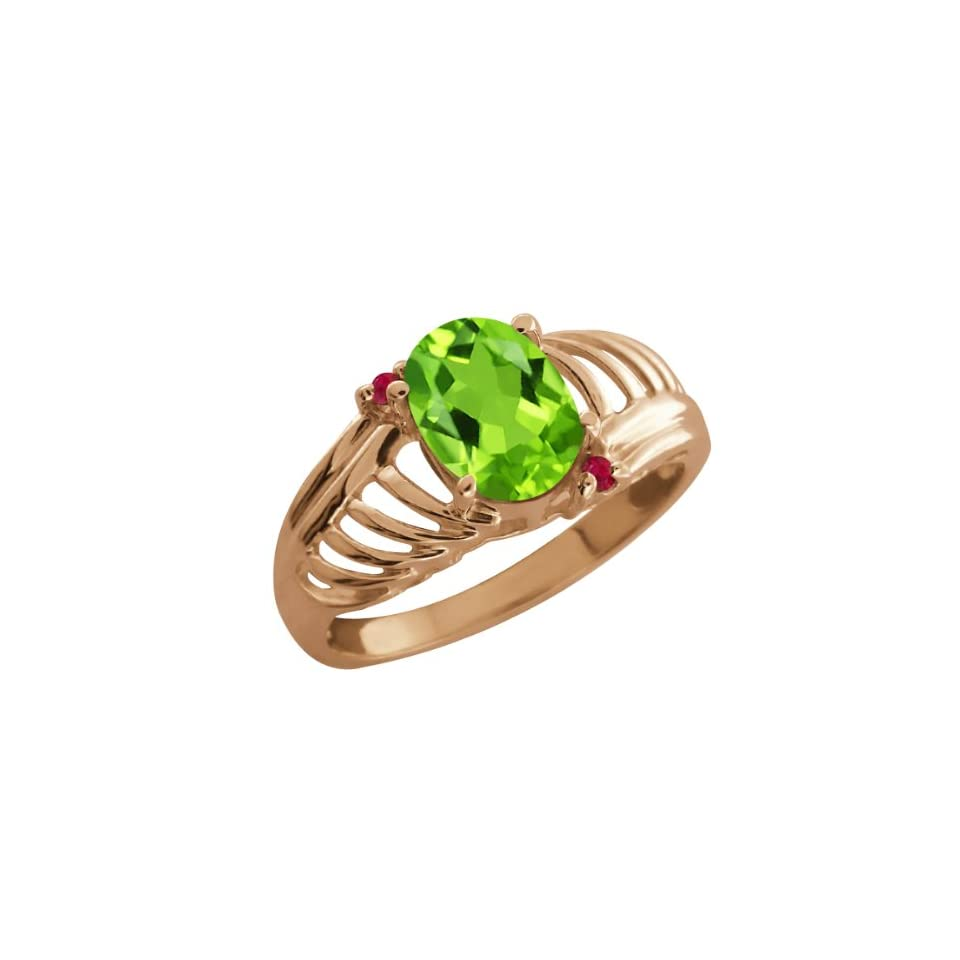 1.19 Ct Oval Green Peridot Red Ruby 14K Rose Gold Ring