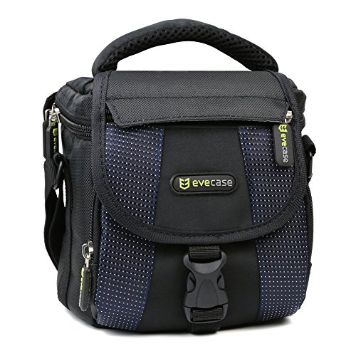 Camera Shoulder Bag, Evecase Small Nylon Shoulder Case Bag For Compact SLR DSLR Camera Micro Four Third Camera – Black and Blue