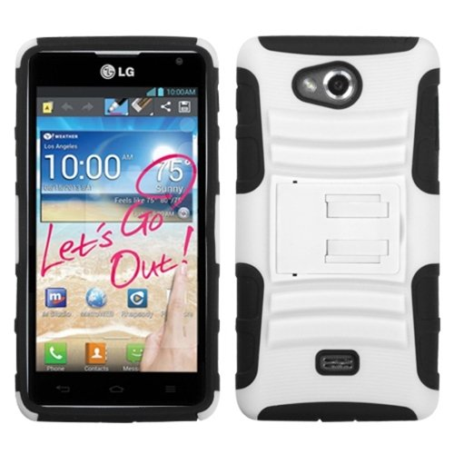 Mybat Algms870Hpcsaas002Np Advanced Rugged Armor Hybrid Combo Case With Kickstand For Lg Spirit Ms870 - Retail Packaging - White/Black