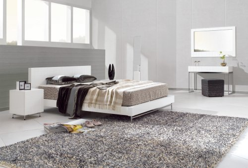 Designer Modern White Double Bed - Barcelona White by GillmoreSPACE