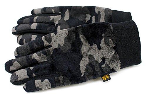 (アルファ インダストリーズ) ALPHA INDUSTRIES INC 手袋 メンズ スマホ対応 スマートフォン対応 迷彩 ボア 3color Free ブラック -