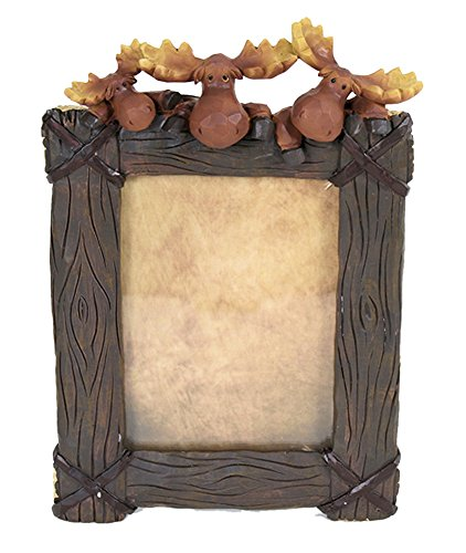 Moose and Log Look Table Top Photo Picture Frame (Vertical)