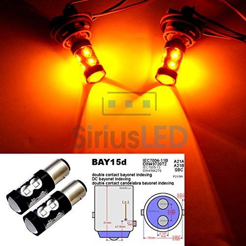 New 2X 1157 Bay15D Amber Orange Led 50W Turn Signal Tail Break Stop Light Bulb