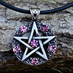 Celtic Pentagram Pentacle Star Pewter Pendant PINK CRYSTAL