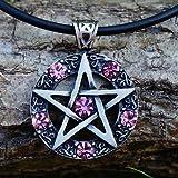 Celtic Pentagram Pentacle Star Pewter Pendant PINK CRYSTAL