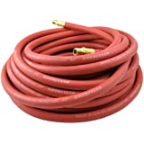 "Goodyear Heavy-Duty Rubber 1/2-Inch x 25-Ft All-Weather Rubber Air Hose, USA Made, 1/2"" Fitting, Red"
