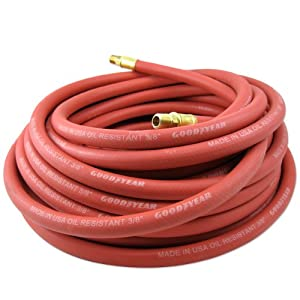 Goodyear Heavy-Duty Rubber 3/8-Inch x 50-Ft All-Weather Rubber Air Hose, USA Made - Red