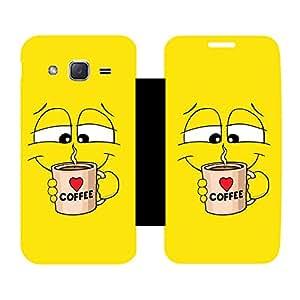 Skintice Designer Flip Cover with Vinyl wrap-around for Samsung Galaxy J2, Design - coffee
