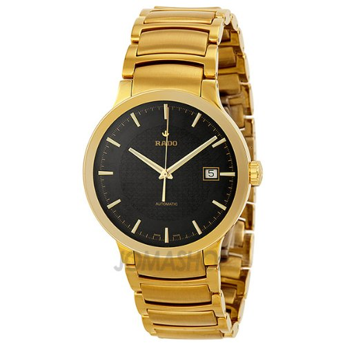 Rado Centrix Automatic Black Dial Yellow Gold-Plated Stainless Steel Mens Watch R30279153