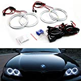 iJDMTOY 7000K Xenon White 240-SMD LED Angel Eyes Halo Ring Lighting Kit for 2004-2006 BMW E46 3 Series 325ci 330ci LCI Coupe