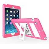 MoKo Apple iPad Mini 3, 2 and 1 Case - MoKo Silicone + White Hard Polycarbonate Protector with Foldable Stand Cover Case for Mini3 (2014 edition with Touch ID), Mini2 (2013 model with Retina Display) and Mini (2012 1st gen), MAGENTA