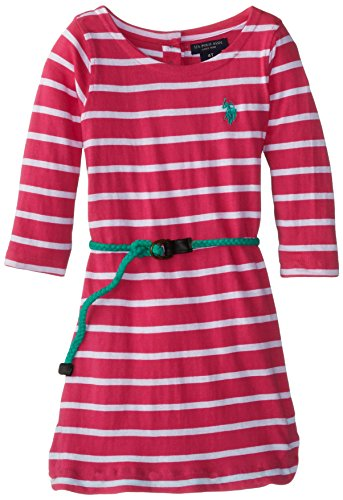 U.S. Polo Assn. Little Girls' Striped 3/4 Sleeve Dress With Fabric Braided Belt, Pink, 3T