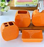 Orange - 4 Piece Set Ceramic Bathroom Accessory,Luxury Decor,Elegant Designing Bathrooms,Wedding Gifts,Soap Dispenser/Toothbrush Holder/1 Bathroom Tumbler/Soap Dish